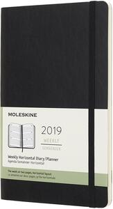 Agenda settimanale orizzontale 2019, 12 mesi, Moleskine large copertina morbida. Nero