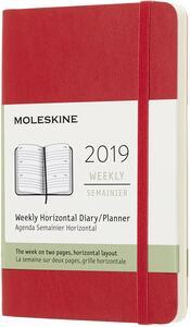 Agenda settimanale orizzontale 2019, 12 mesi, Moleskine pocket copertina morbida. Rosso