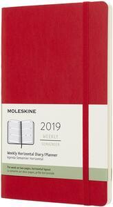 Agenda settimanale orizzontale 2019, 12 mesi, Moleskine large copertina morbida. Rosso