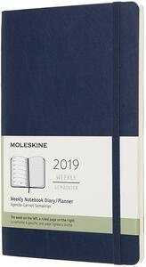 Weekly Notebook. Agenda-taccuino settimanale 2019, 12 mesi, Moleskine large copertina morbida. Blu