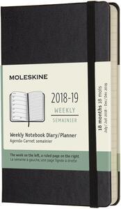 Weekly Notebook. Agenda-taccuino settimanale 2018-2019, 18 mesi, Moleskine pocket copertina rigida. Nero