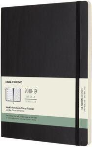 Weekly Notebook. Agenda-taccuino settimanale 2018-2019, 18 mesi, Moleskine extra large copertina morbida. Nero