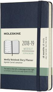 Weekly Notebook. Agenda-taccuino settimanale 2018-2019, 18 mesi, Moleskine pocket copertina rigida. Blu