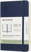 Cartoleria Weekly Notebook. Agenda-taccuino settimanale 2018-2019, 18 mesi, Moleskine pocket morbida rigida. Blu Moleskine