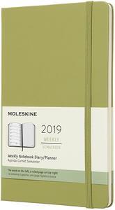 Weekly Notebook. Agenda-taccuino settimanale 2019, 12 mesi, Moleskine large copertina rigida. Verde