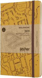 Weekly Notebook. Agenda-taccuino settimanale 2019, 12 mesi, Moleskine large. Limited Edition Harry Potter. Beige