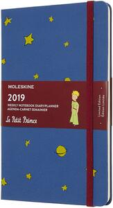 Weekly Notebook. Agenda-taccuino settimanale 2019, 12 mesi, Moleskine large. Limited Edition Piccolo Principe. Blu