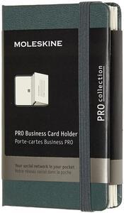 Cartoleria Portacarte Pro Business Card Holder XS copertina rigida verde. Forest Green Moleskine
