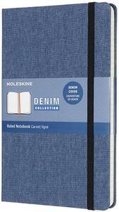 Cartoleria Taccuino Moleskine Denim Limited Edition large a righe. Blu Anversa Moleskine
