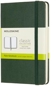 Cartoleria Taccuino Moleskine pocket a pagine bianche copertina rigida verde. Myrtle Green Moleskine