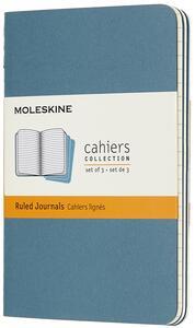 Cartoleria Quaderno Cahier Journal Moleskine pocket a righe azzurro. Brisk Blue. Set da 3 Moleskine
