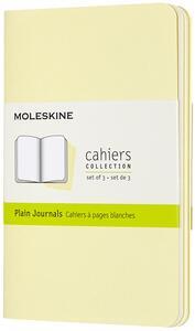 Cartoleria Quaderno Cahier Journal Moleskine pocket a pagine bianche giallo. Tenderly Yellow. Set da 3 Moleskine