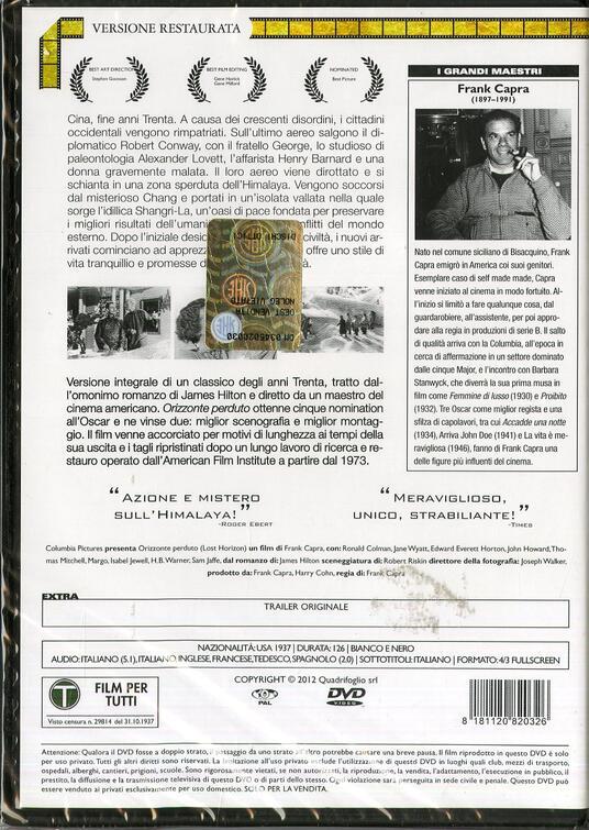 Orizzonte perduto di Frank Capra - DVD - 2