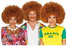Parrucca afro castana extra ricciolona hippie