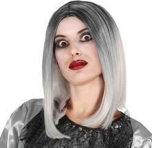Parrucca bicolore nero bianco halloween donna carnevale horror strega caschetto