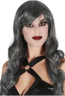 Parrucca grigia mossa lusso carnevale halloween strega donna sexy