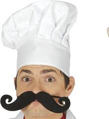 Baffi da chef grandi con elastico neri accessori travestimento carnevale