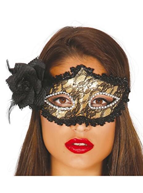 Maschera Decorata Oro Con Rosa - 2