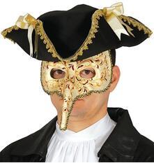 Maschera Veneziana Carta Pesta Carnevale Uomo Donna