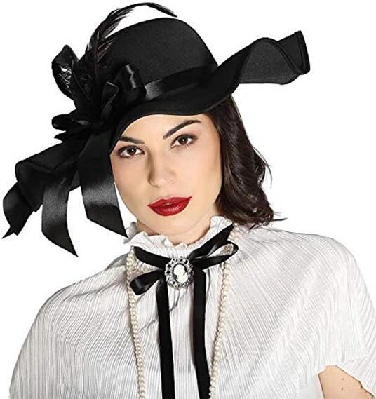 Cappello dama fiocco piume