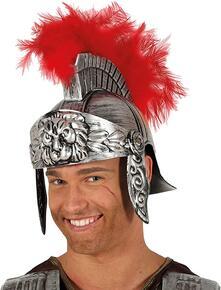 Elmo centurione romano argento con piuma