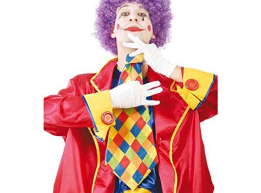 Maxi Cravatta Clown Cravattone A Scacchi 55 Cm