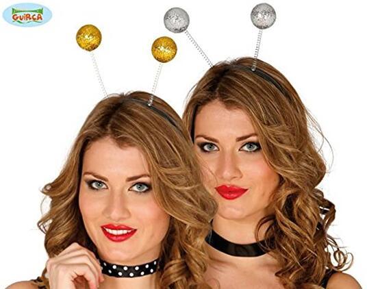 Cerchietto palline argento o oro glitter