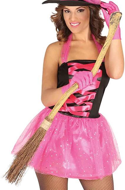 Scopa da strega in saggina e bambù cm 90 halloween carnevale scopetta cosplay