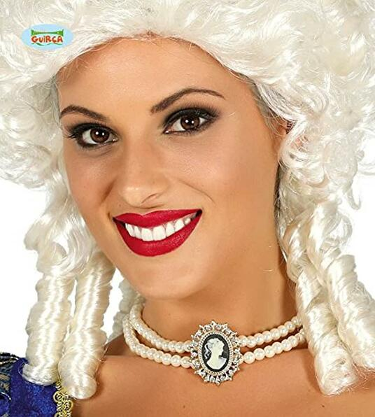 Collana perle finte con cameo donna nobile dama carnevale halloween teatro nuovo