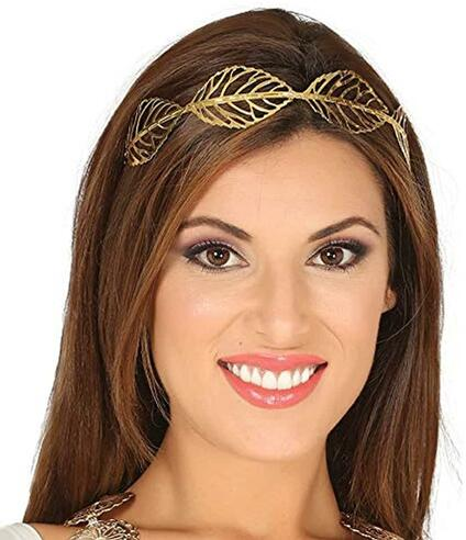 Tiara foglie metalliche oro per travestimento donna romana greca