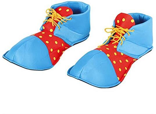 Scarpe clown adulto, colore azzurro, rosso, giallo