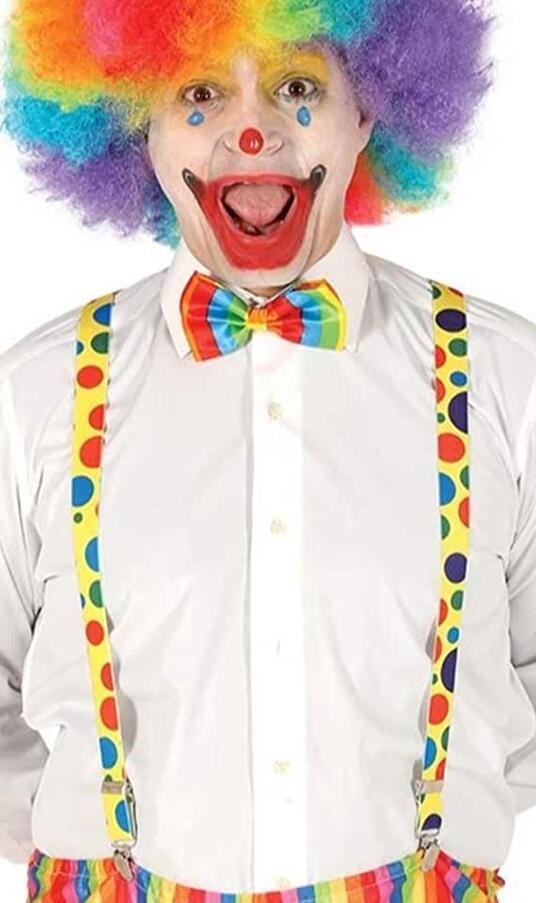 Bretelle per travestimenti da pagliacci, clown, colore giallo a pois colorati