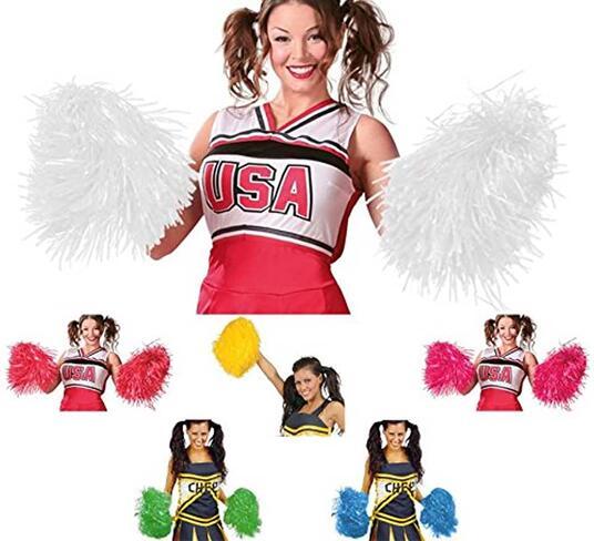 Coppia pon pon in plastica per cheerleaders colore rosa
