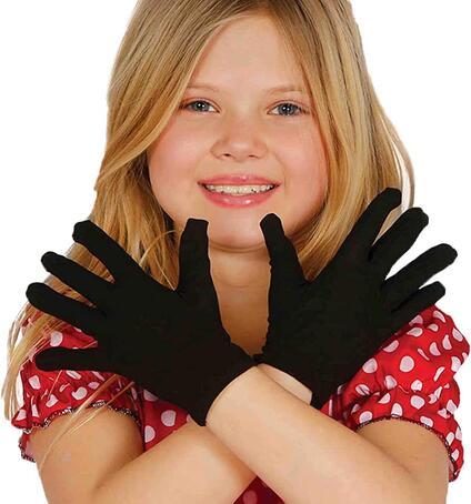 Guanti neri per bambini 22 cm guanti corti neri mimo ladro elasticizzati accessori travestimenti bimbi. Da 3 anni