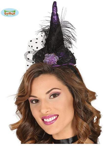 Cappello strega tiara lilla copricapo horror halloween piuma cerchietto
