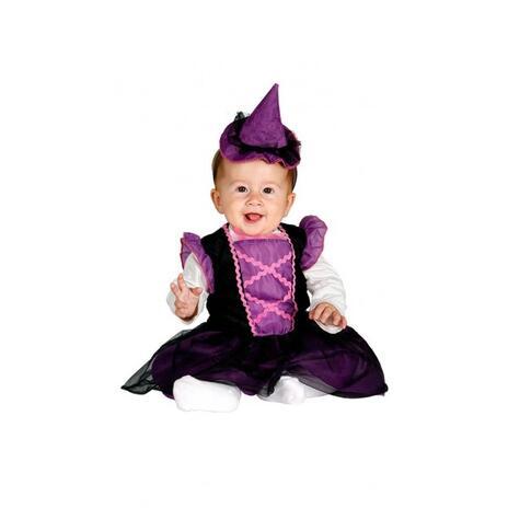 Costume Strega Bambina Fuxia e Nero Halloween Neonato 1- 12 Mesi 64 - 82 cm