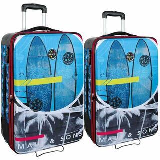 Idee regalo Set 2 Trolley Bagaglio a Mano da Viaggio Maui And Sons 2 Ruote Azzurro Maui & Sons