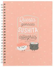 Cartoleria Quaderno grande Mr Wonderful wire-o. Questa giornata sushita allegria Mr Wonderful