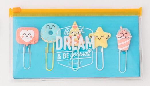 Cartoleria Astuccio con set di clip. Laugh, dream & be yourself Mr Wonderful