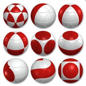Sfera Marusenko rompicapo 3D difficoltà 1. Rosso e Bianco - 4