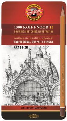 Set Art Koh-I-Noor. 12 matite H1500 8B-2H in astuccio in metallo