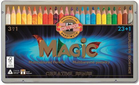 Matitoni triangolari Magic Trio Koh-I-Noor. Scatola in metallo con 23 colori assortiti + Blender - 2