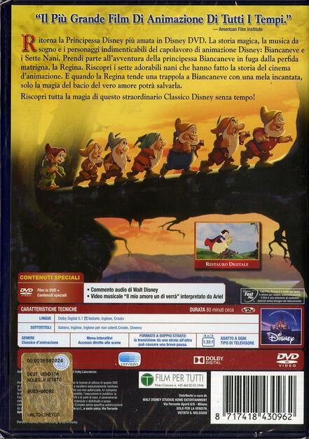 Biancaneve e i sette nani dvd film di walt disney animazione ibs