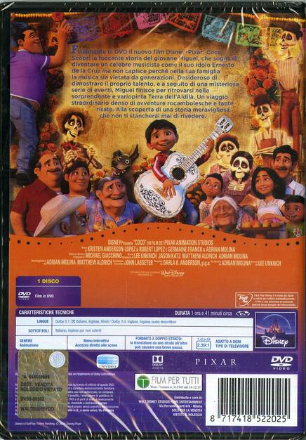Coco dvd dvd film di lee unkrich adrian molina animazione