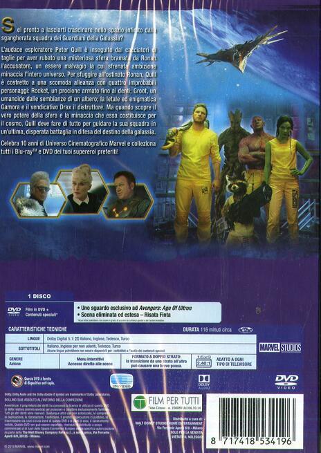 Guardiani della galassia di James Gunn - DVD - 2
