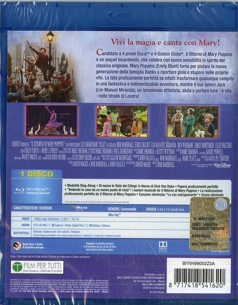 Il ritorno di Mary Poppins. (Blu-ray) di Rob Marshall - Blu-ray - 2
