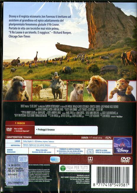 Il Re Leone Live Action (DVD) di Jon Favreau - DVD - 2
