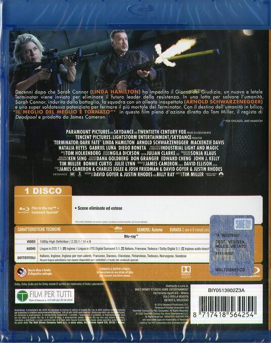 Terminator. Destino oscuro (Blu-ray) di Tim Miller - Blu-ray - 2