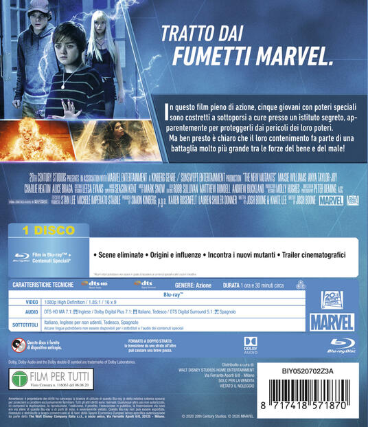 The New Mutants (Blu-ray) di Josh Boone - Blu-ray - 2