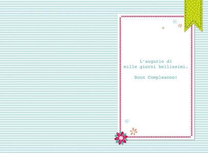 Biglietto compleanno Stitched White. Fiori - 2